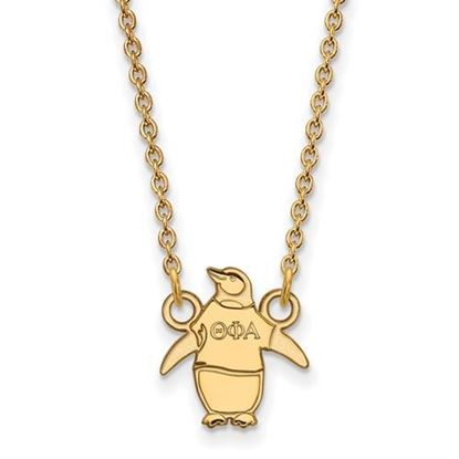 Picture of Theta Phi Alpha Sorority Gold Plated Penguin Pendant Necklace