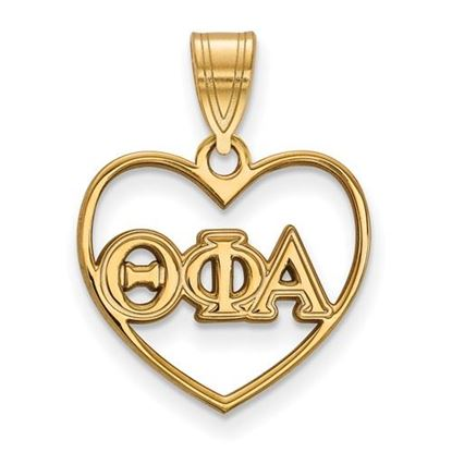 Picture of Theta Phi Alpha Sorority Sterling Silver Gold Plated Heart Pendant