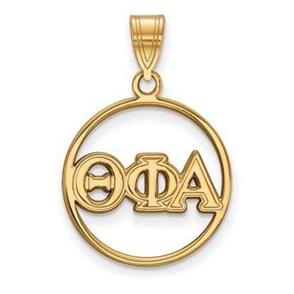 Picture of Theta Phi Alpha Sorority Sterling Silver Gold Plated Small Circle Pendant