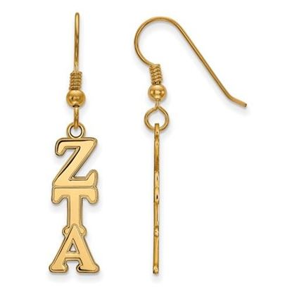 Picture of Zeta Tau Alpha Sorority Sterling Silver Gold Plated Dangle Medium Earrings