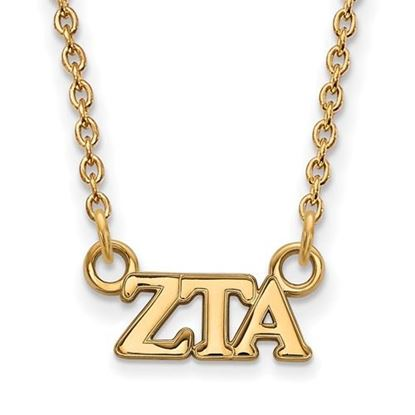 Picture of Zeta Tau Alpha Sorority Sterling Silver Gold Plated Extra Small Pendant Necklace