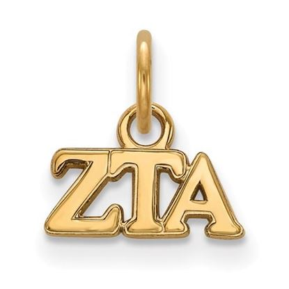 Picture of Zeta Tau Alpha Sorority Sterling Silver Gold Plated Extra Small Pendant