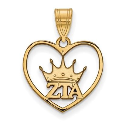 Picture of Zeta Tau Alpha Sorority Sterling Silver Gold Plated Heart Pendant