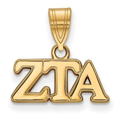 Picture of Zeta Tau Alpha Sorority Sterling Silver Gold Plated Medium Pendant