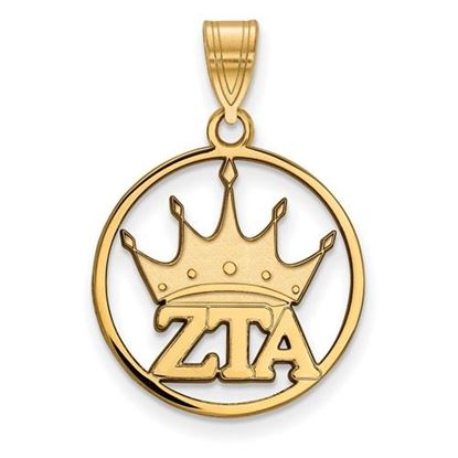 Picture of Zeta Tau Alpha Sorority Sterling Silver Gold Plated Small Circle Pendant