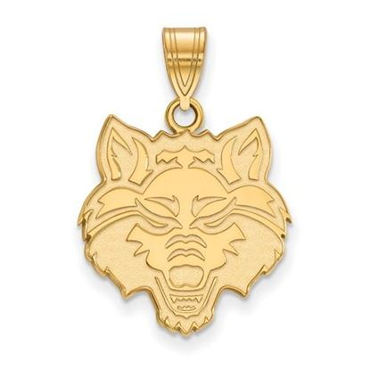 Picture of Arkansas State University Red Wolves Sterling Silver Gold Plated Large Wolf Pendant