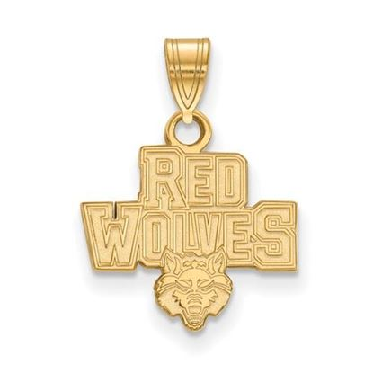 Picture of Arkansas State University Red Wolves Sterling Silver Gold Plated Small Pendant