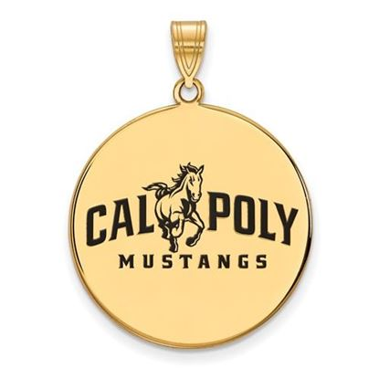 Picture of California Polytechnic State University Mustangs Sterling Silver Gold Plated Extra Large Enameled Disc Pendant