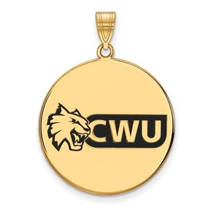Picture of Central Washington University Wildcats Sterling Silver Gold Plated Extra Large Enameled Disc Pendant