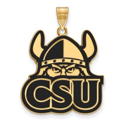 Picture of Cleveland State University Vikings Sterling Silver Gold Plated Extra Large Enameled Pendant