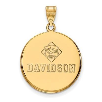 Picture of Davidson College Wildcats Sterling Silver Gold Plated Large Disc Pendant