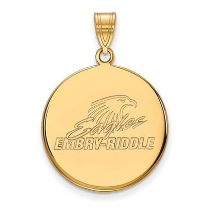 Picture of Embry-Riddle Aeronautical University Eagles Sterling Silver Gold Plated Large Disc Pendant