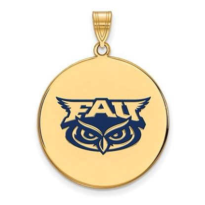 Picture of Florida Atlantic University Owls Sterling Silver Gold Plated Extra Large Enameled Disc Pendant