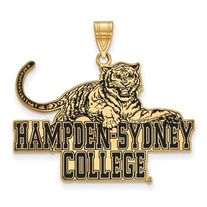 Picture of Hampden-Sydney College Tigers Sterling Silver Gold Plated Extra Large Enameled Pendant