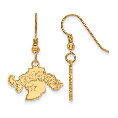 Picture of Indiana State University Sycamores Sterling Silver Gold Plated Small Dangle Earrings