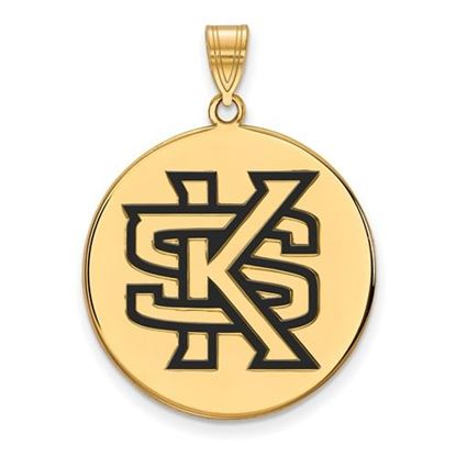 Picture of Kennesaw State University Owls Sterling Silver Gold Plated Extra Large Enameled Disc Pendant