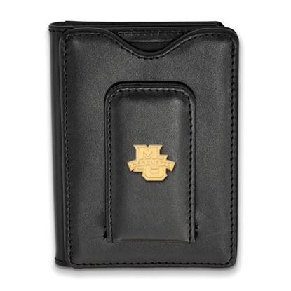 Picture of Marquette University Golden Eagles Sterling Silver Gold Plated Black Leather Wallet