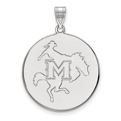 Picture of McNeese State University Cowboys 14k White Gold Extra Large Disc Pendant