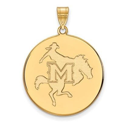 Picture of McNeese State University Cowboys Sterling Silver Gold Plated Extra Large Disc Pendant