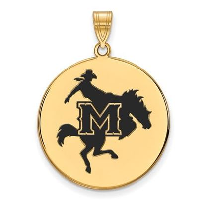 Picture of McNeese State University Cowboys Sterling Silver Gold Plated Extra Large Enameled Disc Pendant