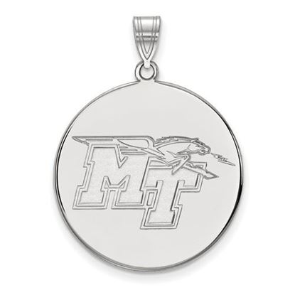 Picture of Middle Tennessee State University Blue Raiders 14k White Gold Extra Large Disc Pendant