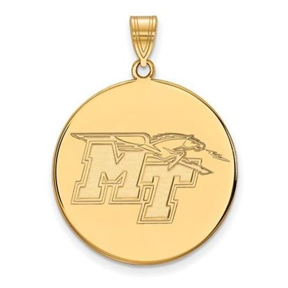 Picture of Middle Tennessee State University Blue Raiders 14k Yellow Gold Extra Large Disc Pendant