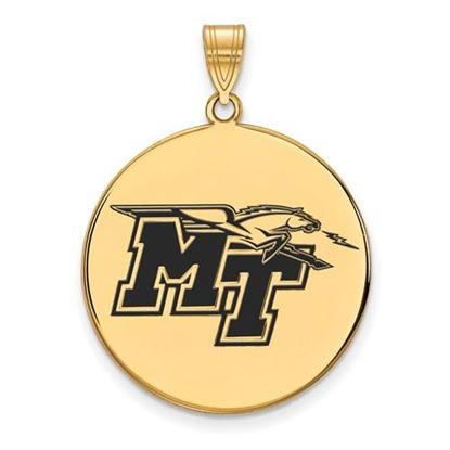 Picture of Middle Tennessee State University Blue Raiders Sterling Silver Gold Plated Extra Large Enameled Disc Pendant