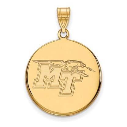 Picture of Middle Tennessee State University Blue Raiders Sterling Silver Gold Plated Large Disc Pendant