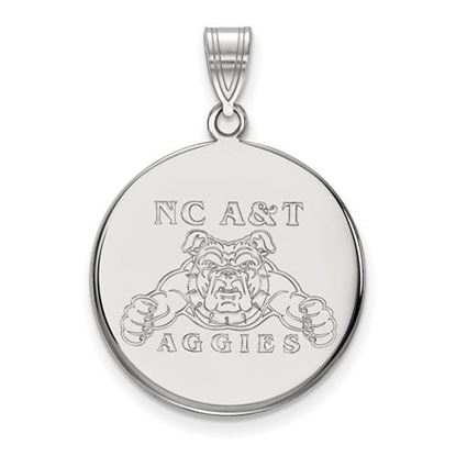 Picture of North Carolina A&T State University Aggies 10k White Gold Large Disc Pendant