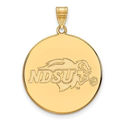 Picture of North Dakota State University Bison Sterling Silver Gold Plated Extra Large Disc Pendant