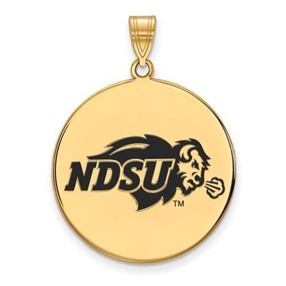Picture of North Dakota State University Bison Sterling Silver Gold Plated Extra Large Enameled Disc Pendant
