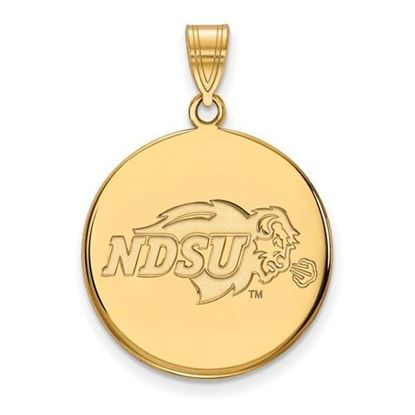 Picture of North Dakota State University Bison Sterling Silver Gold Plated Large Disc Pendant