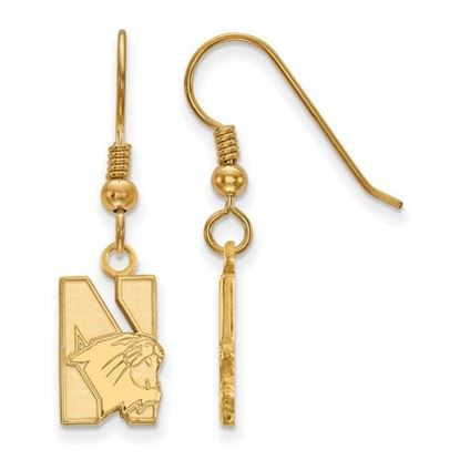 Picture of Northwestern University Wildcats Sterling Silver Gold Plated Small Dangle Earrings