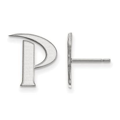 Picture of Pepperdine University Waves 14k White Gold Small Post Earrings