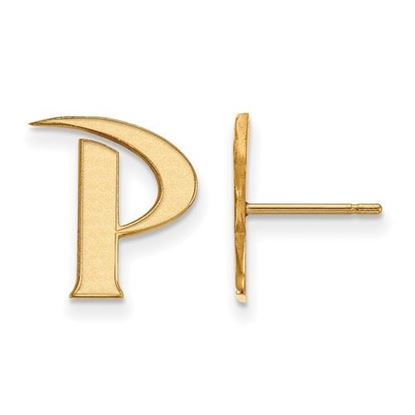 Picture of Pepperdine University Waves 14k Yellow Gold Small Post Earrings