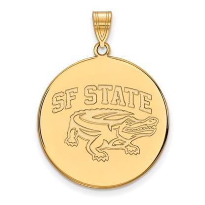 Picture of San Francisco State University Gators Sterling Silver Gold Plated Extra Large Disc Pendant