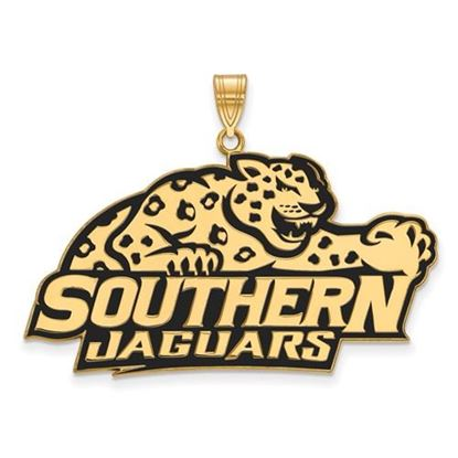 Picture of Southern University Jaguars Sterling Silver Gold Plated Extra Large Enameled Pendant