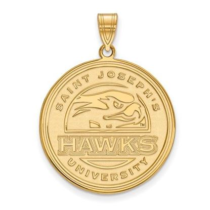Picture of St. Joseph's University Hawks Sterling Silver Gold Plated Extra Large Pendant
