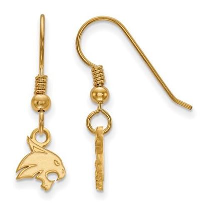 Picture of Texas State University Bobcats Sterling Silver Gold Plated Extra Small Dangle Earrings