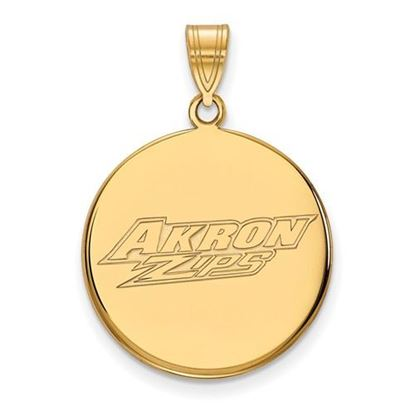 Picture of University of Akron Zips Sterling Silver Gold Plated Large Disc Pendant