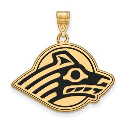 Picture of University of Alaska Seawolves Sterling Silver Gold Plated Large Enameled Pendant
