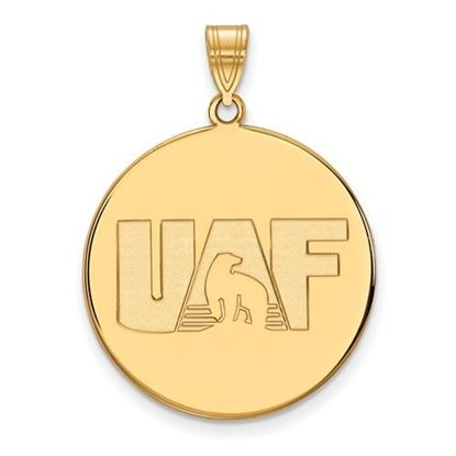 Picture of University of Alaska Fairbanks Nanooks Sterling Silver Gold Plated Extra Large Disc Pendant