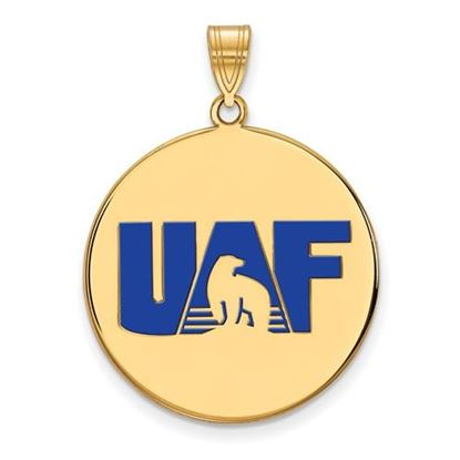 Picture of University of Alaska Fairbanks Nanooks Sterling Silver Gold Plated Extra Large Enameled Disc Pendant