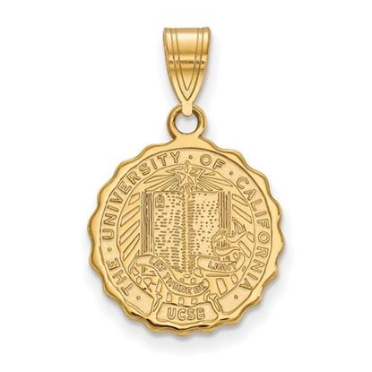 Picture of University of California Santa Barbara Gauchos Sterling Silver Gold Plated Medium Crest Pendant