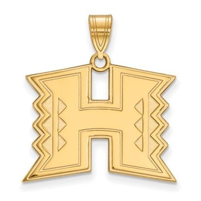 Picture of University of Hawaii Rainbow Warriors Sterling Silver Gold Plated Large Pendant