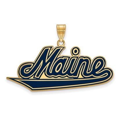 Picture of University of Maine Black Bears Sterling Silver Gold Plated Extra Large Enameled Pendant