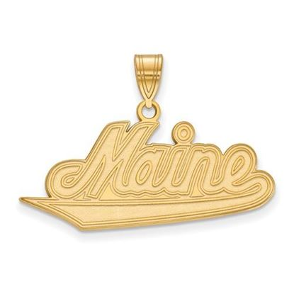 Picture of University of Maine Black Bears Sterling Silver Gold Plated Large Pendant