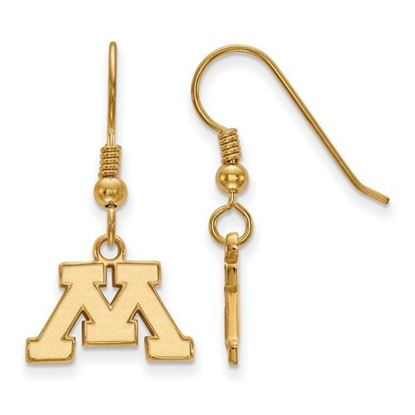Picture of University of Minnesota Golden Gophers Sterling Silver Gold Plated Extra Small Dangle Earrings