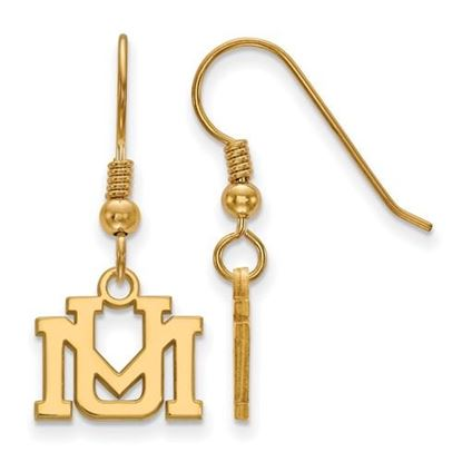 Picture of University of Montana Grizzlies Sterling Silver Gold Plated Extra Small Dangle Earrings