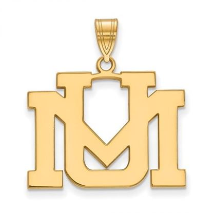 Picture of University of Montana Grizzlies Sterling Silver Gold Plated Large Pendant